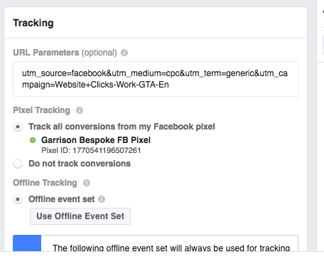 Facebook offers a dedicated input box just for UTM parameters.